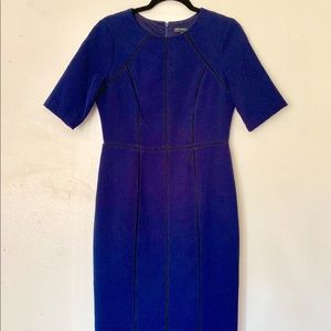 MAGGY LONDON - DARK BLUE CREPE SHEATH DRESS - 8